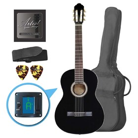 artist-cl44bk-full-size-classical-guitar-pack-nylon-string-39-black