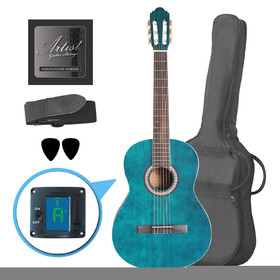 artist-cl44tbb-full-size-classical-guitar-pack-nylon-string-39-blue
