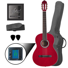 artist-cl44trd-full-size-classical-guitar-pack-nylon-string-39-red
