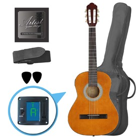 artist-cl34am-34-size-classical-guitar-pack-nylon-string-amber