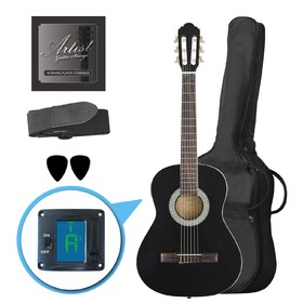 artist-cl34bk-34-size-classical-guitar-pack-nylon-string-black