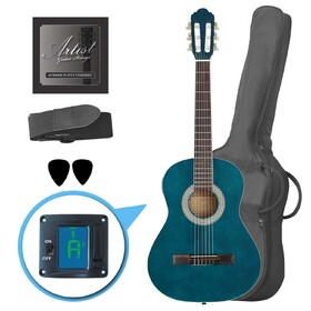 artist-cl34tbb-34-size-classical-guitar-pack-nylon-string-blue