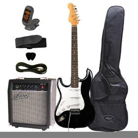 artist-stpkbkl-left-hand-electric-guitar-package-amp-accessories