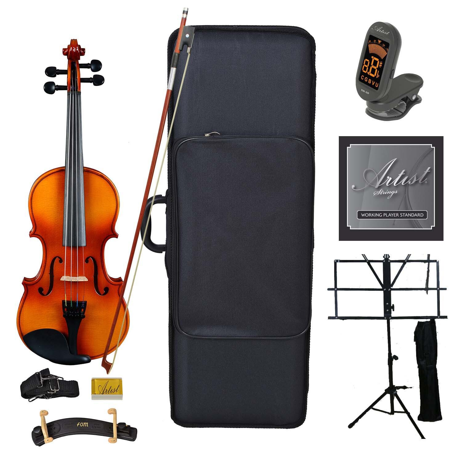 Artist SVN44 Solid Wood Student Violin Package 4/4 Ultimate Pack