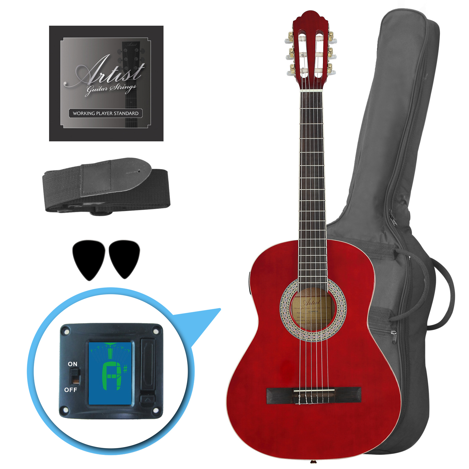 Damaged Artist CL34TRD 3/4 Size Classical Guitar Pack - Red