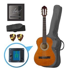 Artist CL12AM 1/2 Size Classical Guitar Pack, Nylon String - Amber