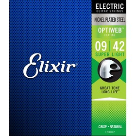 Elixir 19002 9-42 Optiweb Nickel Plated Electric Guitar Strings