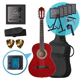 Artist CL34TRD 3/4 Size Classical Guitar Ultimate Pack - Red
