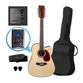 Customer Returned Artist LSP12CEQNT Beginner 12 String Acoustic Guitar Pack with EQ