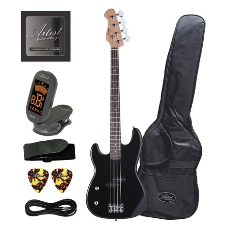 Artist PB2L Left Hand Black Electric Bass Guitar with Accessories