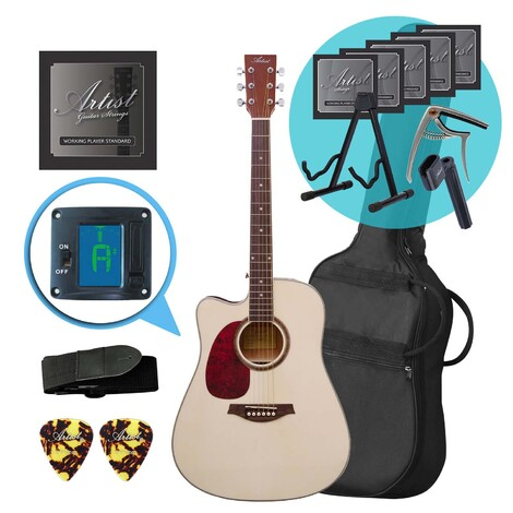 Artist LSPCNTL Left Handed Acoustic Guitar with Cutaway Ultimate Pack